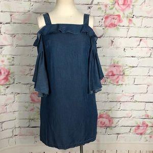 Chelsea28 chambray bell sleeve shift dress pockets